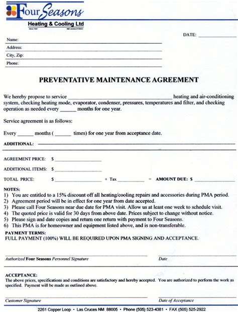 service agreement contract form maintenance contract