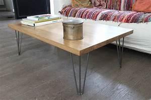 Table Basse Pied Bois : table basse bois massif et pied pingle acier vernis sur ~ Teatrodelosmanantiales.com Idées de Décoration