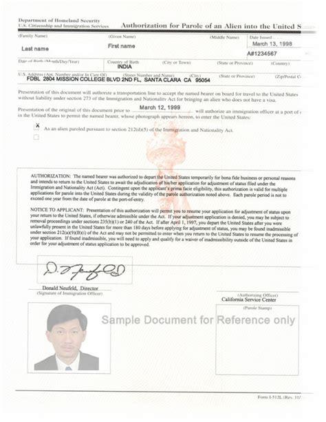 advance parole document