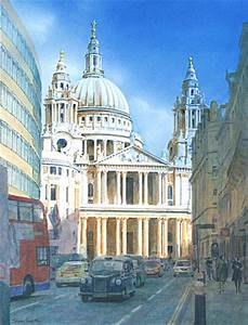 Painting of St Paul's from Ludgate Hill by Trevor Heath