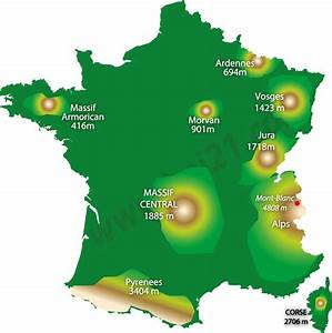 Map of the mountains in France