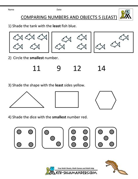 kindergarten math worksheets comparing numbers  size