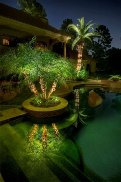 outdoor lighting around pool backyard swimming pool landscaping ideas of design