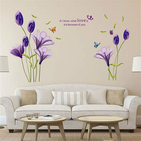 removable large wall stickers purple lily flower wall