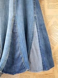 free vintage denim maxi skirt in blue denim lyst