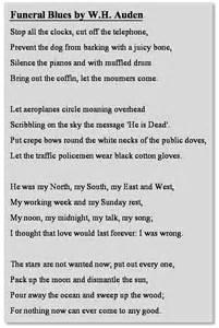 wh auden poems funeral blues