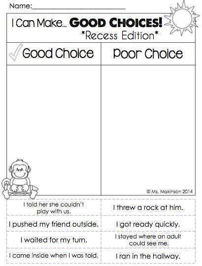 Making Good Choices Printable Worksheets