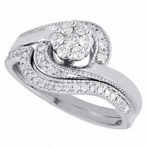 diamond wedding bridal set 14k white gold swirl flower With swirl diamond wedding ring set