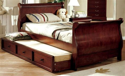 louis philippe jr dark cherry full trundle sleigh bed