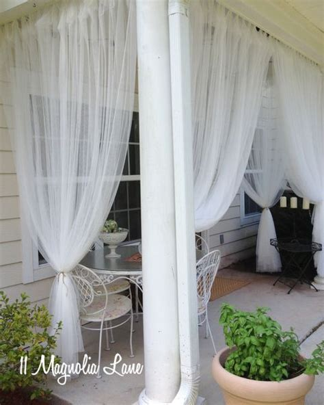 sheer panels on covered porch mosquito netting so can