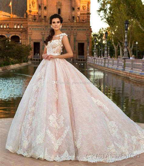 Pink Lace Princess Ball Gown Wedding Dresses 2017 Crystal