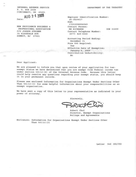irs determination letter county  union  jersey