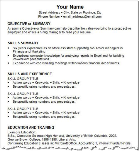 Developing A Functional Resume by Objective Or Summary Skills Summary Skills And Experience Education And Resume