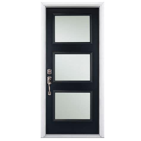 masonite  panel steel door  black  handed