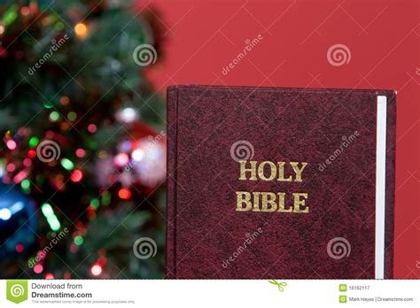 holy bible and christmas tree royalty free stock