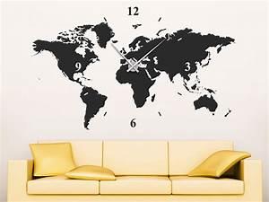 Wandtattoo Weltkarte Uhr : wandtattoo uhr weltkarte wanduhr welt von ~ Sanjose-hotels-ca.com Haus und Dekorationen