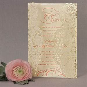 filigree lace laser cut gatefold wedding day invitation With laser cut wedding invitations uk samples