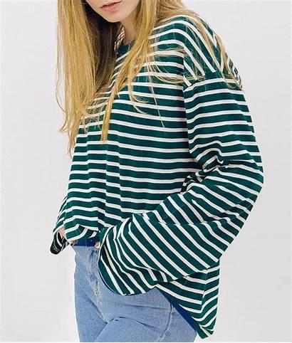 Loose Shirt Stripe Tops Mini Sleeve Mixxmix