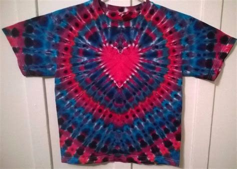 New Tie Dye Youth Xl Alstyle Tshirt Red Blue Purple Heart