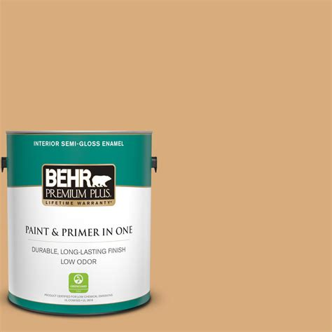 behr premium plus 1 gal ppu6 05 cork semi gloss enamel