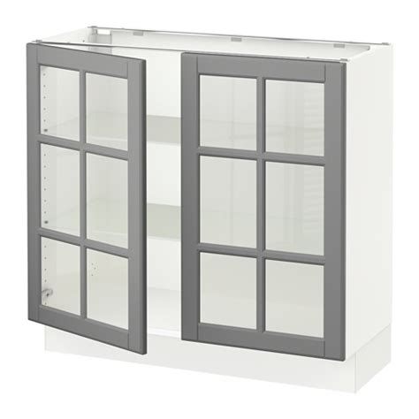 kitchen base cabinets with glass doors sektion base cabinet with 2 glass doors white bodbyn