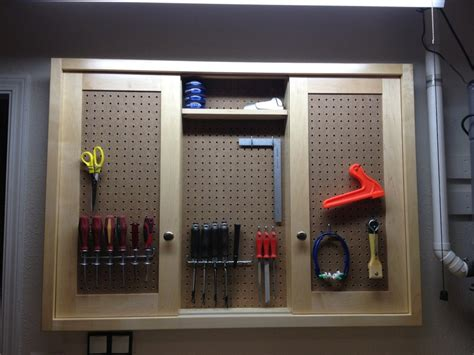 sliding door peg board cabinet  splinter