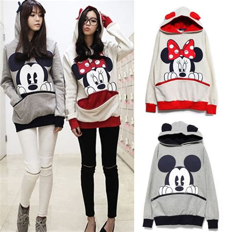 sweater big minnie mickey mouse hoodies big pockets t