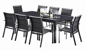 salon de jardin noir contemporain 8 fauteuils et table With salon de jardin avec rallonge