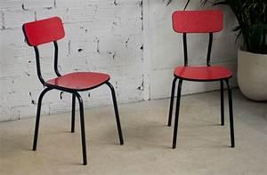 Chaise Bistrot Vintage : chaises cuisine vintage caf bistrot formica rouge pietement fer noir m tal ~ Teatrodelosmanantiales.com Idées de Décoration