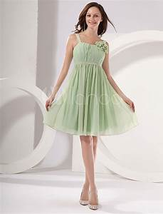 Modern Light Green Square Neckline A-line Chiffon ...