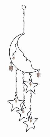 Wind Moon Chimes Stars Windchime Chime Sun Metal Rustic Catchers Charm Wire Chain Brown Crafts Aesthetic Wood sketch template
