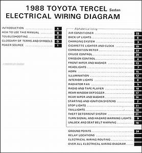 1988 Toyota Tercel Sedan Wiring Diagram Manual Original