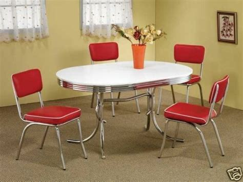 style chrome retro dining table set red chairs dining room furniture set ebay