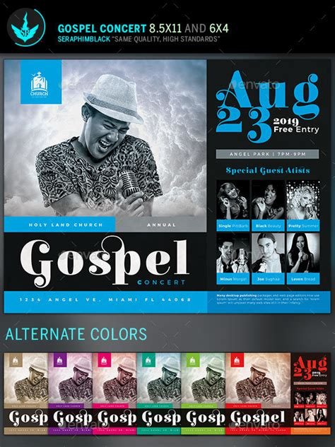 gospel concert flyer template  seraphimblack graphicriver