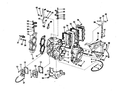 20 Hp Johnson Outboard Diagram by Johnson Cylinder Crankcase Parts For 1971 20hp 20r71s
