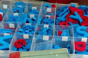 red and blue magnetic letters w storage box by vidaliasvintage With magnetic letter storage