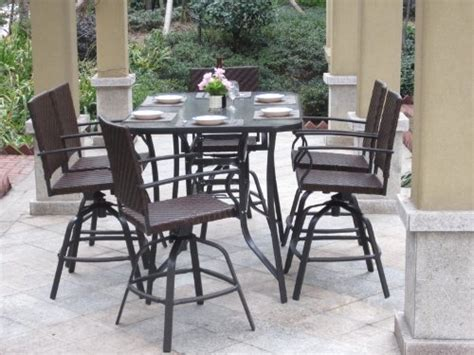 7pc handwoven outdoor wicker patio bar dining set swivel