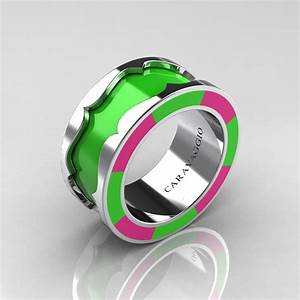 Caravaggio 14k white gold lime green and pink italian for Lime green wedding rings