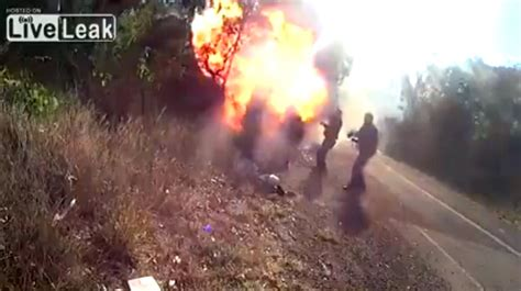 horrible wreck bugzilla explodes into flames bike crashes catches on finally explodes