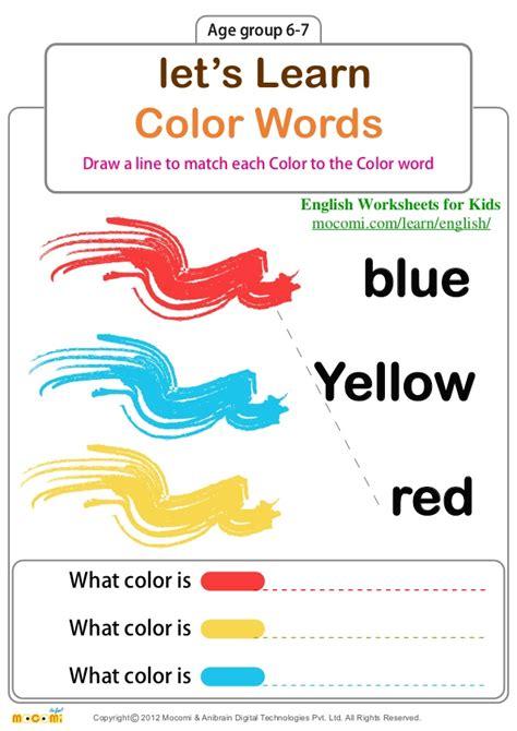 lets learn color words english worksheets  kids