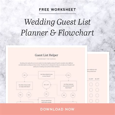 create  wedding guest list  worksheet