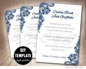 navy wedding invitations navy blue wedding invitation template diy instant printable wedding invitation blue
