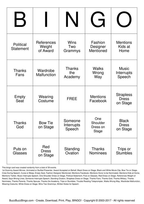 grammys bingo cards   print  customize