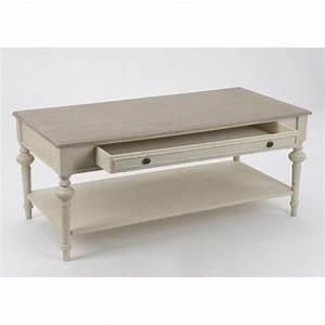 Table Basse Blanc Bois : table basse legende 120 cm en bois vieilli blanc cass ~ Teatrodelosmanantiales.com Idées de Décoration