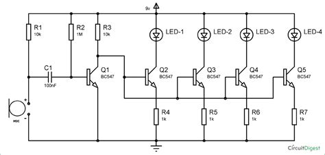 Shower Speaker Wiring Diagram by Bc547 Based Led Light Circuit Diagram Electronics