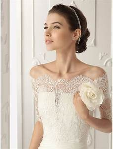 lace off the shoulder wedding gowns ipunya With bolero robe de mariée