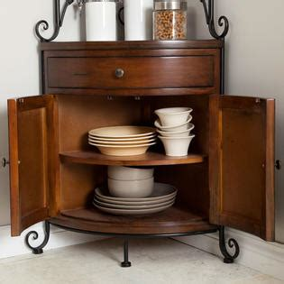 corner bakers rack with cabinet greenhome123 wrought iron corner bakers rack with wooden