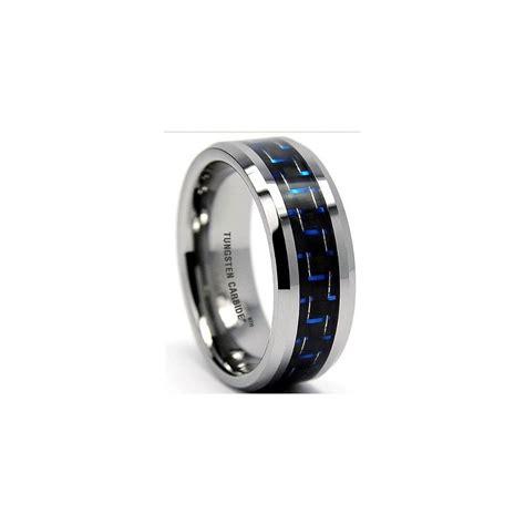 blue carbon inlay mens tungsten carbide wedding engagement