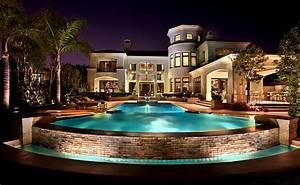 beautiful, house, lights, mansion, pool