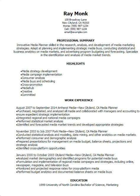 Planner Resume Exles by Professional Media Planner Resume Templates To Showcase Your Talent Myperfectresume